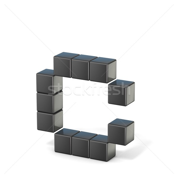8 bit font. Lowercase letter C. 3D Stock photo © djmilic