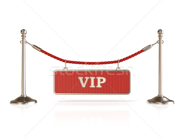 Velvet rope barrier, with VIP sign. 3D Stock photo © djmilic