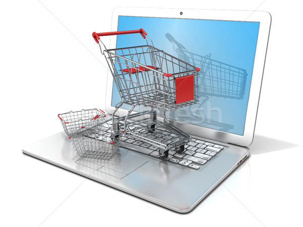 Laptop with steel shopping basket and shopping cart. 3D Stock photo © djmilic