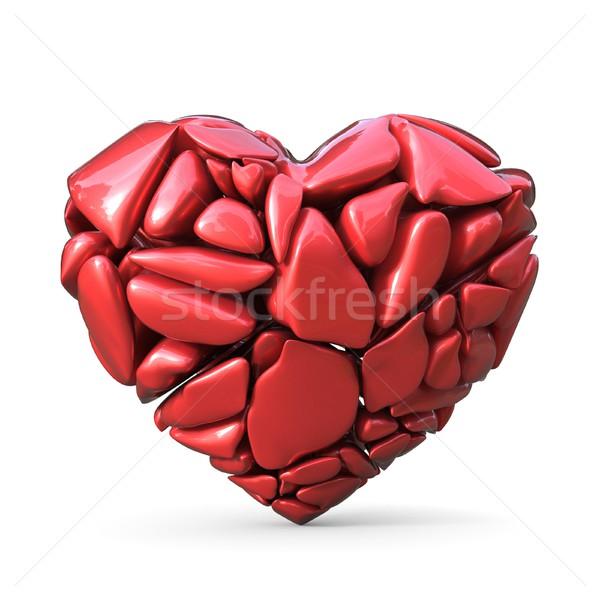 Broken red heart made of red rocks. 3D Stock photo © djmilic