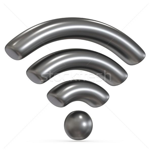 Metaal grijs wifi teken 3D 3d render Stockfoto © djmilic