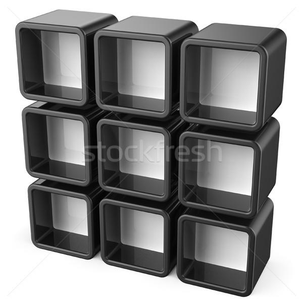 Copy space black and white shelf set 3D Stock photo © djmilic