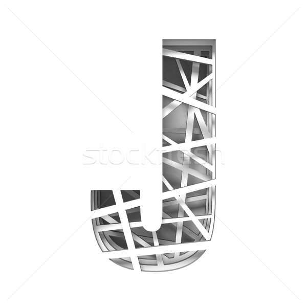 Paper cut out font letter J 3D Stock photo © djmilic