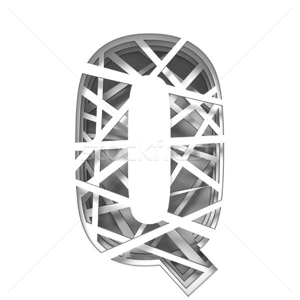 Papír kivágás betűtípus q betű 3D 3d render illusztráció Stock fotó © djmilic