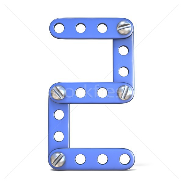 Blue metal constructor toy Number 2 TWO 3D Stock photo © djmilic