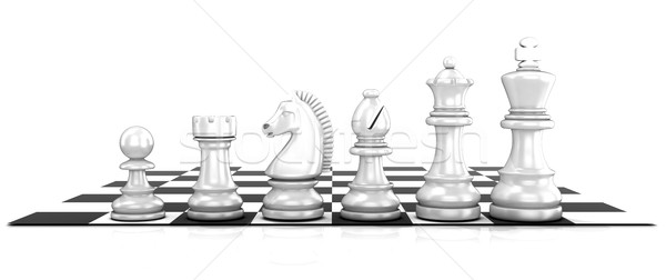 Stock photo: Chess white pieces, standing on board