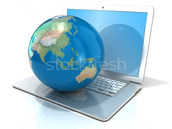 Stock photo: Laptop with illustration of earth globe, Asia and Oceania view.