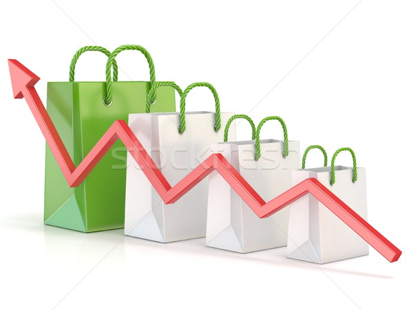 Shopping bag increasing chart. Sales growth chart. 3D Stock photo © djmilic