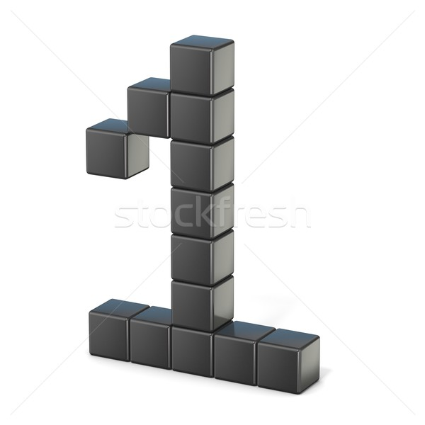 8 bit font. Number 1. 3D Stock photo © djmilic