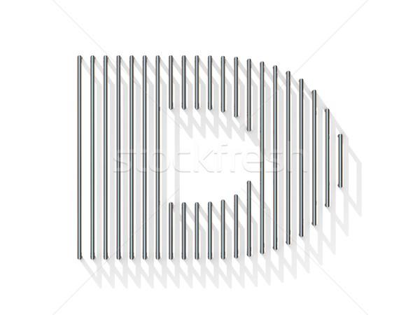 Ezüst acél drót betűtípus d betű függőleges Stock fotó © djmilic