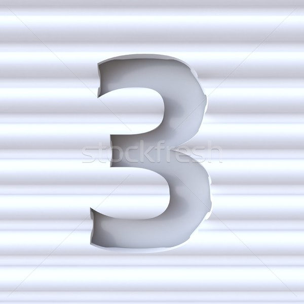 Cut out font in wave surface NUMBER 3 THREE 3D Stock photo © djmilic