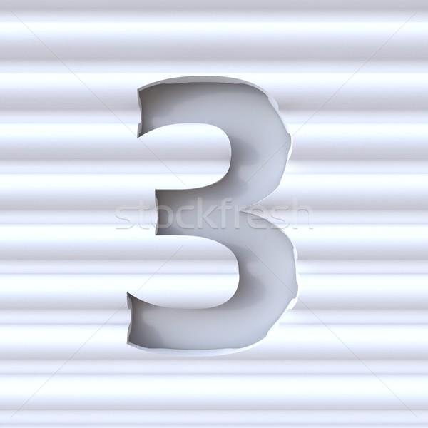 Kivágás betűtípus hullám felület szám három Stock fotó © djmilic
