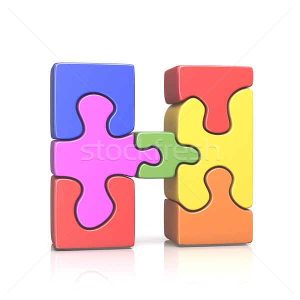 Puzzle jigsaw letter H 3D Stock photo © djmilic