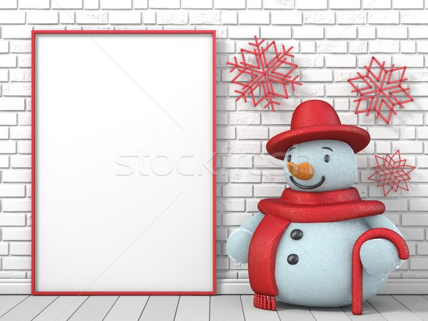 Up cadre photo bonhomme de neige rouge flocons de neige Photo stock © djmilic