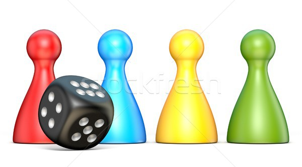 Plastic game figures and one black dice 3D Stock photo © djmilic