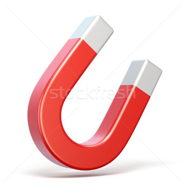 赤 馬蹄 磁石 3dのレンダリング 実例 白 ストックフォト © djmilic
