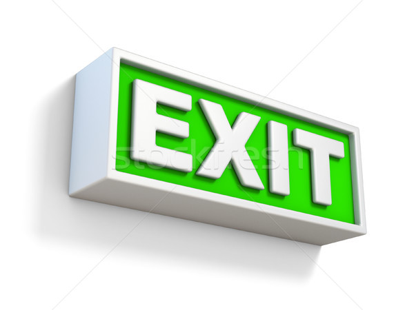 Green EXIT sign on white wall 3D Stock photo © djmilic