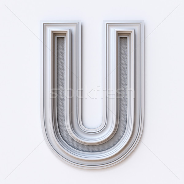 Stock photo: White picture frame font Letter U 3D