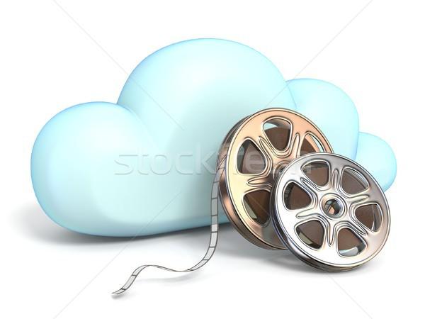 Bulut simgesi filmler 3D yalıtılmış beyaz Stok fotoğraf © djmilic
