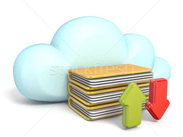 Cloud icon with download and upload arrows 3D Stock photo © djmilic