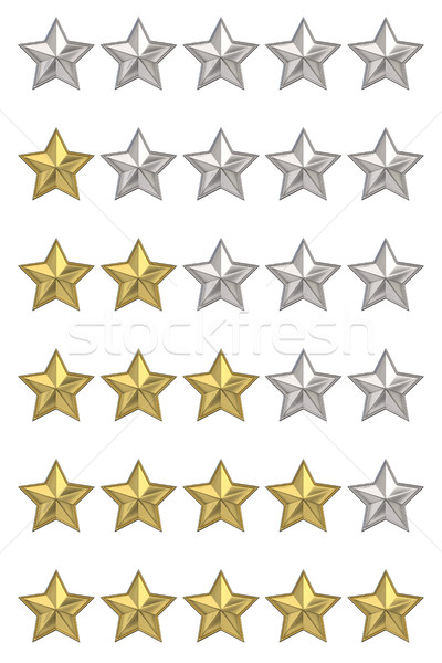 Voting concept. Rating five stars. Set of 3D render illustration Stock photo © djmilic