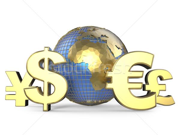 золото валюта вокруг мира 3D Сток-фото © djmilic