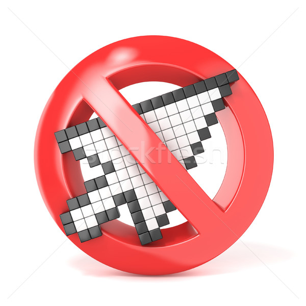 Forbidden sign with arrow mouse cursor. 3D Stock photo © djmilic