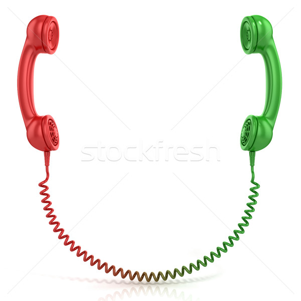Red and green old fashioned telephone handset Stock photo © djmilic
