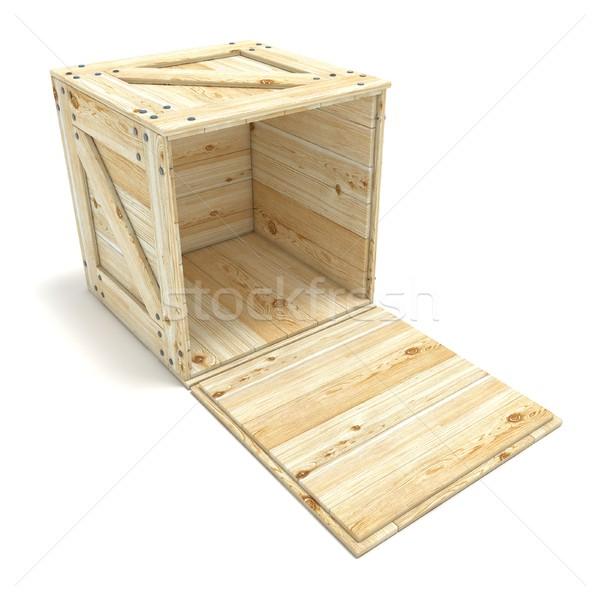 Open houten vak 3D 3d render illustratie Stockfoto © djmilic