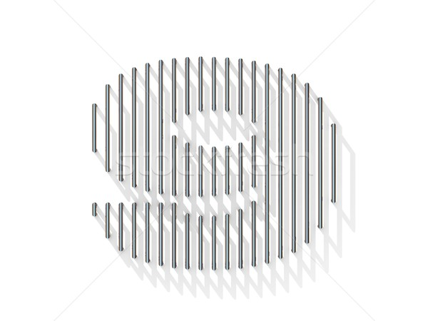 Silver, steel wire font. Number NINE 9 Stock photo © djmilic