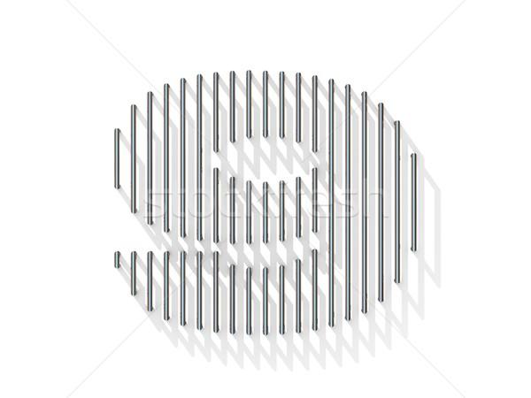 Zilver staal draad doopvont aantal negen Stockfoto © djmilic