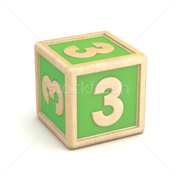 Number 3 THREE wooden alphabet blocks font rotated. 3D Stock photo © djmilic