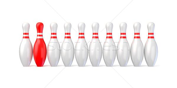 Fehér bowling piros egy 3D 3d render Stock fotó © djmilic