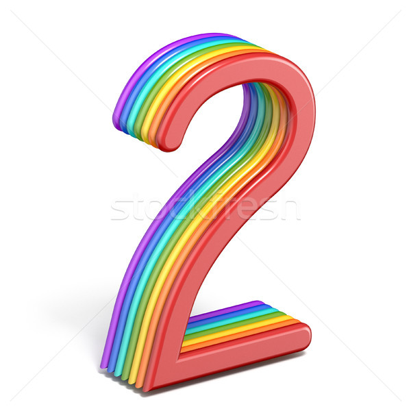 Rainbow font number 2 TWO 3D Stock photo © djmilic