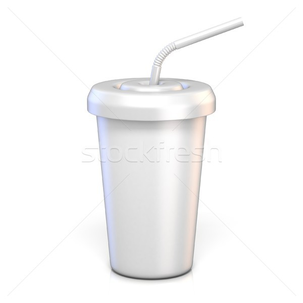 Boş kağıt cam içme saman 3D Stok fotoğraf © djmilic