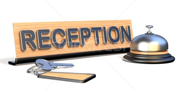 Keys, reception bell and reception sign 3D Stock photo © djmilic