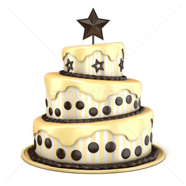 Három padló torta vanília csokoládé krém Stock fotó © djmilic