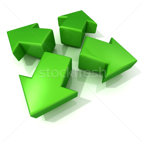 Green 3D arrows expanding. Front view Stock photo © djmilic