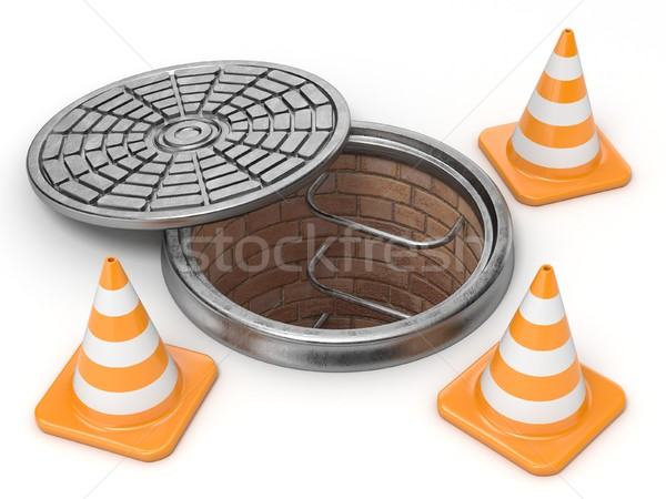 Open manhole and traffic cones. Under construction concept. 3D Stock photo © djmilic