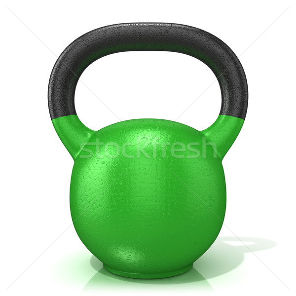 Green kettle bell weight, isolated on a white background. 3D Stock photo © djmilic