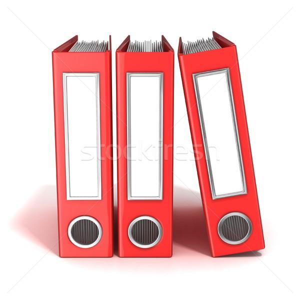Row of binders, red office folders. 3D Stock photo © djmilic