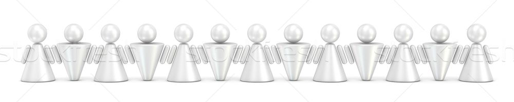 Abstract symbol people figures in row. 3D Stock photo © djmilic