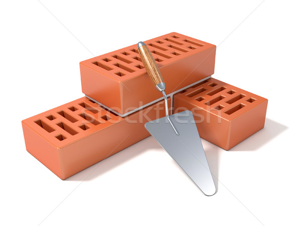 Concept of building the brick wall, made of perforated ceramic b Stock photo © djmilic