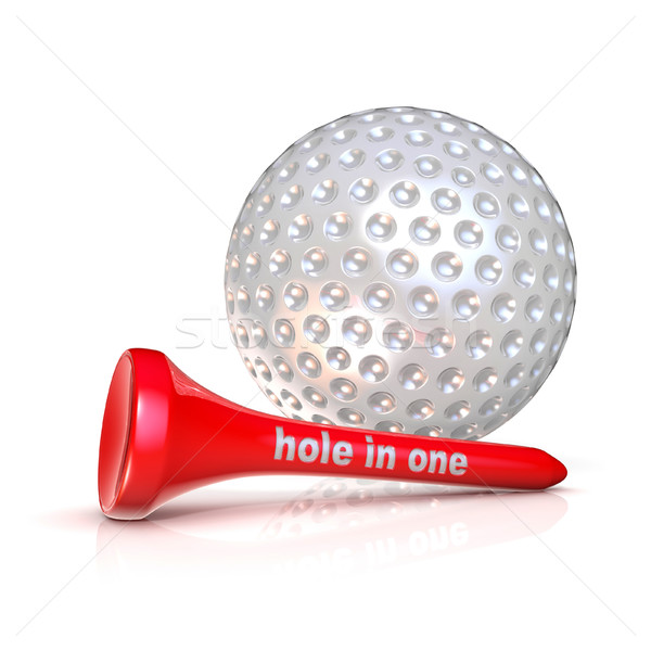 Stock photo: Golf ball and tee. Hole in one sign