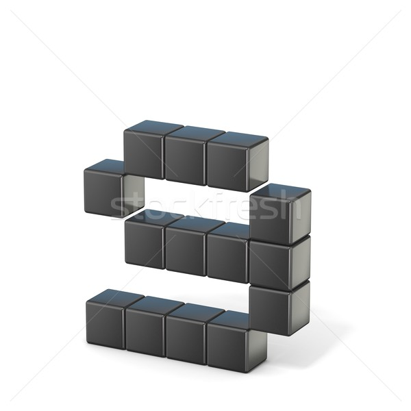 8 bit font. Lowercase letter G. 3D Stock photo © djmilic
