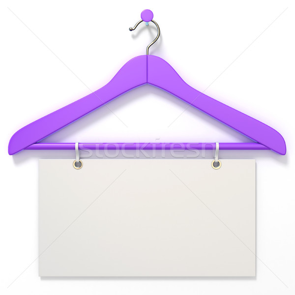 Purple hanger with blank tag. 3D Stock photo © djmilic
