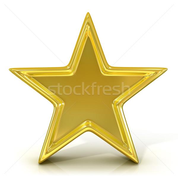 Oude goud star 3D 3d render geïsoleerd Stockfoto © djmilic