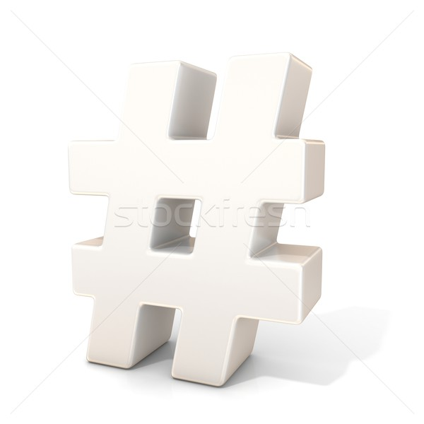 Hashtag, number mark 3D white sign Stock photo © djmilic
