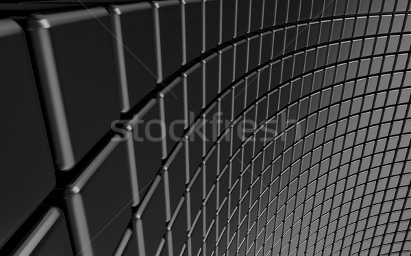 Abstract black background curved made of glossy cubes arranged Stock photo © djmilic