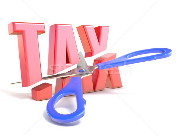 Stock photo: Scissors cut word TAX 3D